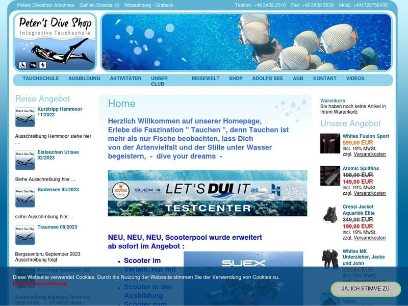 Screenshot von http://www.peters-diveshop.de