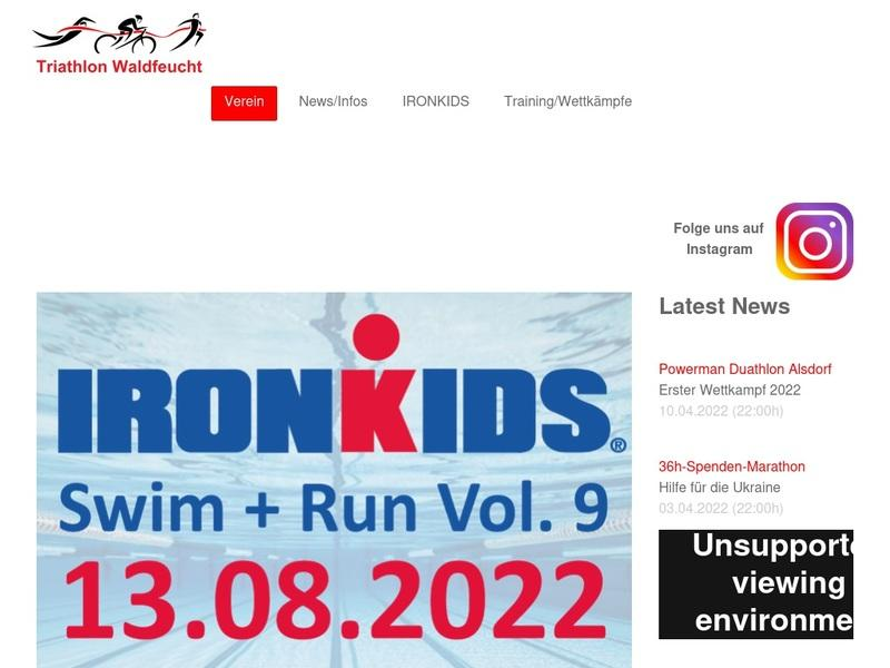 Screenshot von www.triathlon-waldfeucht.de